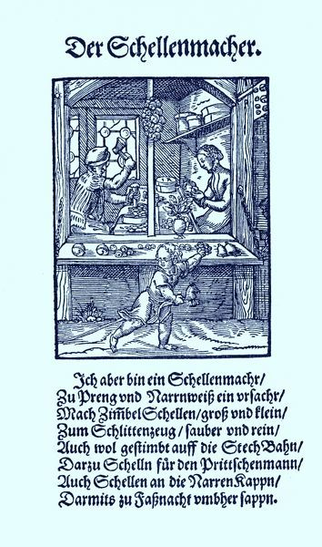 Bell maker (der Schellenmacher), from the Book of Trades / Das Standebuch (Panoplia omnium illiberalium mechanicarum