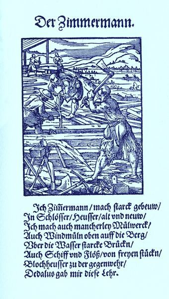 Carpenter (der Zimmermann / Zimmerer), from the Book of Trades / Das Standebuch (Panoplia omnium illiberalium mechanicarum