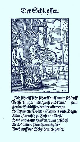 Knife grinder (der Schleifer / Schleyffer), from the Book of Trades / Das Standebuch (Panoplia omnium illiberalium mechanicarum...), Collection of woodcuts by Jost Amman (13 June 1539 -17 March 1591), 1568 with accompanying rhyme by Hans Sachs
