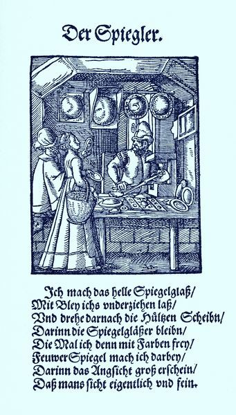 Mirror maker (der Spiegler), from the Book of Trades / Das Standebuch (Panoplia omnium illiberalium mechanicarum