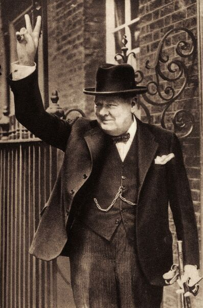 Sir Winston Churchill - portrait of British Prime Minister giving the 'V' victory sign. 1874-1965