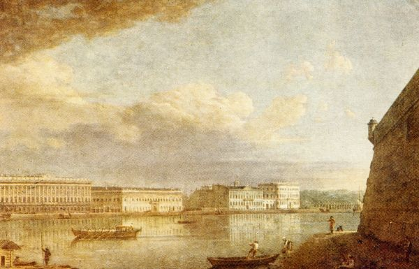 ST PETERSBURG - View of the Palace Embankment from Peter Paul Fortress, 1794 - by F. Alexeyev