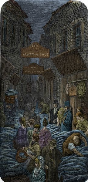A fish market. Billingsgate. Engraving by Gustave Dor, from 'London, a Pilgrimage, by Gustave Dor and Blanchard Jerrold', 1872