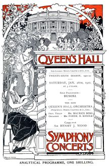 Cover of programme for Queens Hall 28 Jan 1922