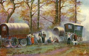 Gypsy camp in the countryside