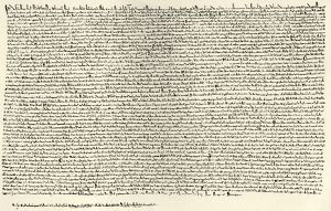 Magna Carta. Signed June 1215. Document producecd by Barons of King John in order
