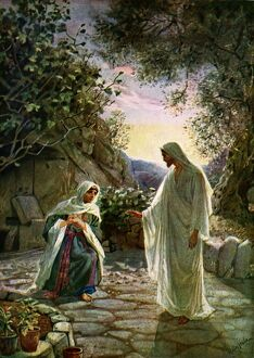 Mary Magdalene speaks to the risen Jesus - Bible