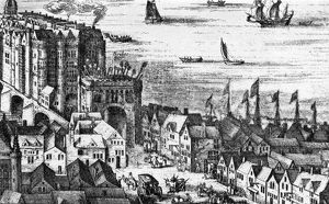 The Southwark end of old London Bridge in 1616