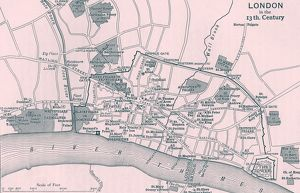 Topographical map depicting London in 13th Century. Printed by Walker and Boutall sc